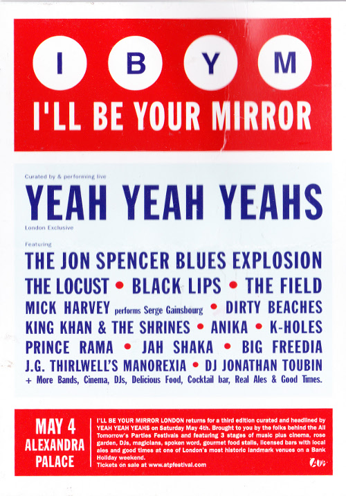 The Jon Spencer Blues Explosion - I'll Be Your Mirror, Alexandra Palace, London, UK (4 May 2013) - Postcard