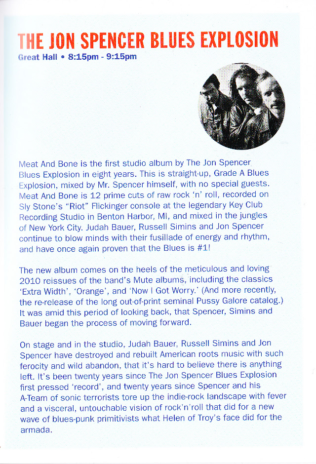 The Jon Spencer Blues Explosion - I'll Be Your Mirror, Alexandra Palace, London, UK (4 May 2013) - Booklet - Jon Spencer Blues Explosion page