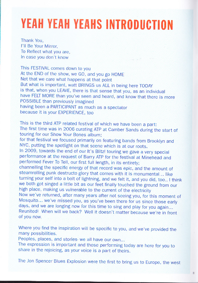 The Jon Spencer Blues Explosion - I'll Be Your Mirror, Alexandra Palace, London, UK (4 May 2013) - Booklet - Yeah Yeah Yeahs intro - page 1