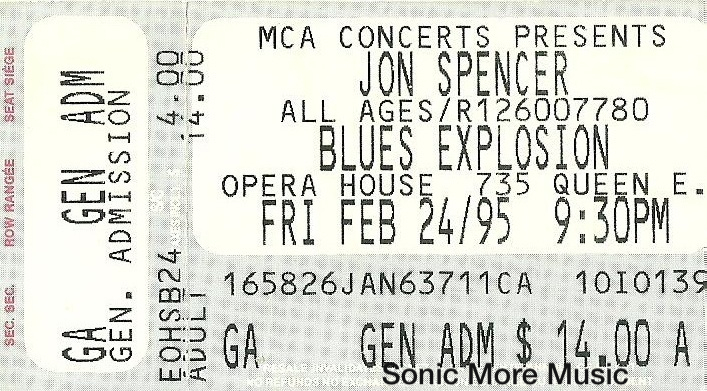 The Jon Spencer Blues Explosion - Opera House Toronto, CA Canada (24 February 1995)