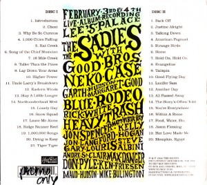 The Sadies - In Concert Volume One (2xCD, US) - Rear