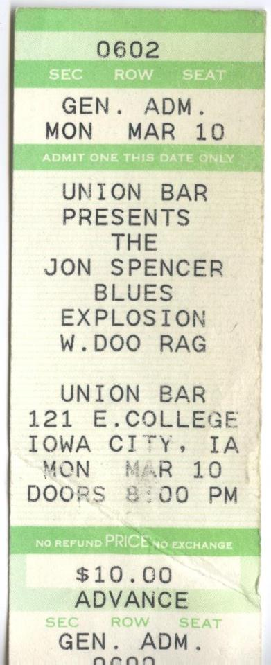 The Jon Spencer Blues Explosion - Union Bar, Iowa City, IA, US (10 March 1997)