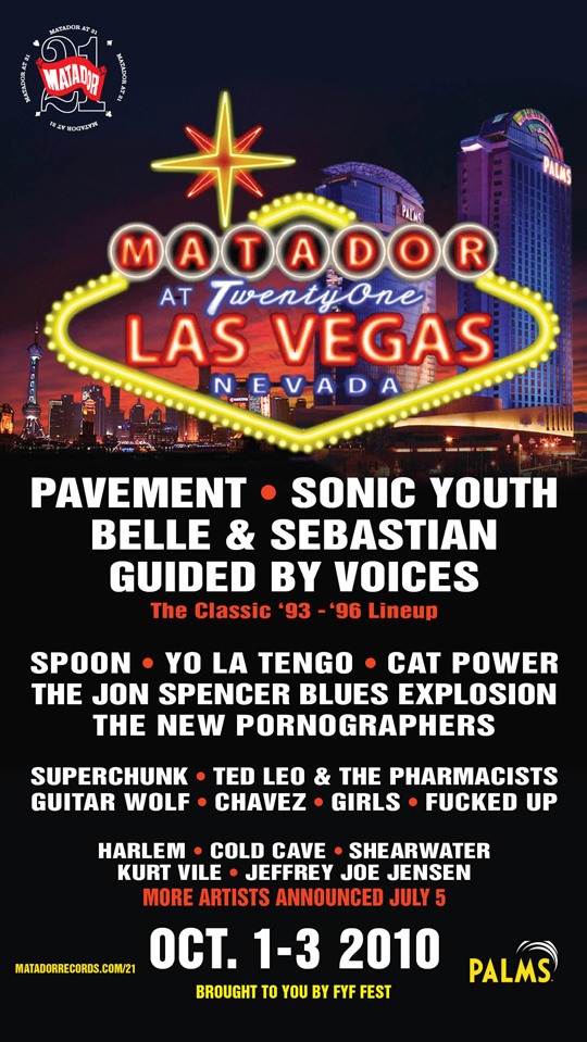 The Jon Spencer Blues Explosion - Matador at 21 festival, The Palms, Las Vegas, NV, US (1 - 3 October 2010) - Poster