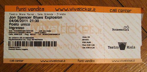 The Jon Spencer Blues Explosion - Teatro Miela, Trieste, Italy (4 June 2011) - TIcket