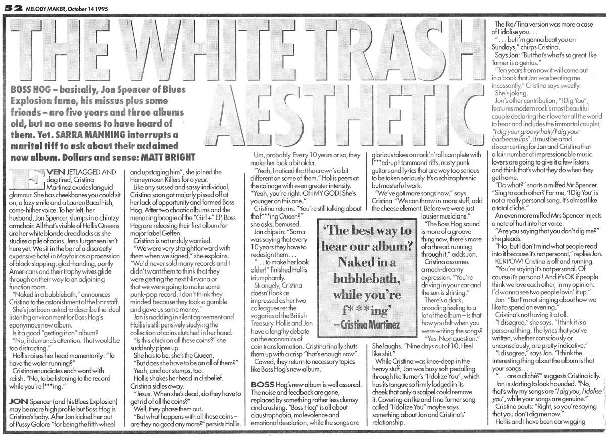 Boss Hog - Melody Maker: The White Trash Aesthetic (PRESS, UK)
