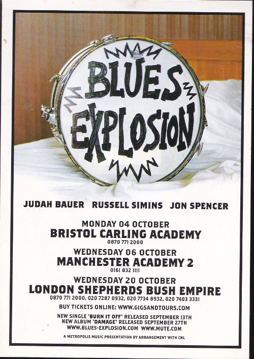 Blues Explosion - Damage Tour Postcard
