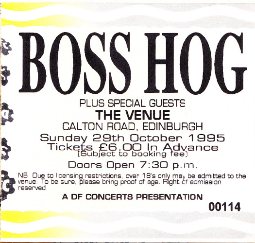 Boss Hog  The Venue, Edinburgh, UK (29 October 1995) - Front