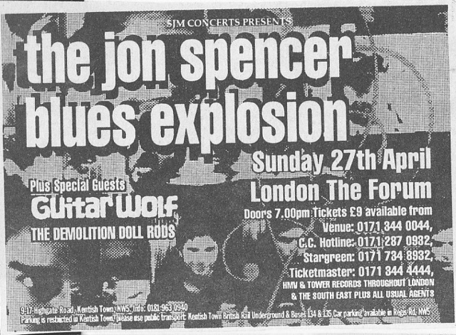 Jon Spencer Blues Explosion - The Forum, London, UK (27 April 1997) - Advert