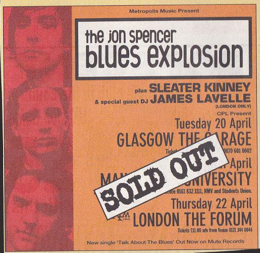 Jon Spencer Blues Explosion - UK Tour (April 1999) - Advert