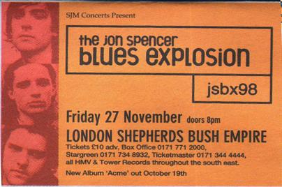 Jon Spencer Blues Explosion - Shepherds Bush Empire, London, UK (27 November 1998) - Advert