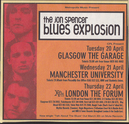 Jon Spencer Blues Explosion - UK Tour (April 1999)
