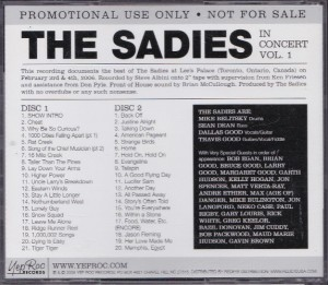 The Sadies - In Concert Volume One [Promo] (2xCD, US)  - Rear