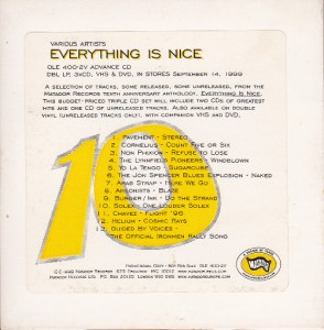 V/A feat. Jon Spencer Blues Explosion - Everything Is Nice [Promo] (CD, US)  - Cover