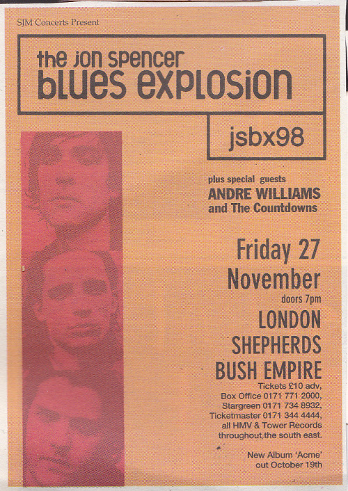 Jon Spencer Blues Explosion – Shepherds Bush Empire, London, UK (27 November 1998)