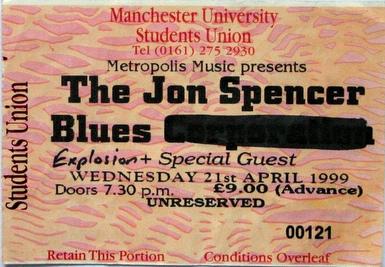The Jon Spencer Blues Explosion - Manchester University, Manchester, UK (21 April 1999)