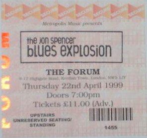 Jon Spencer Blues Explosion - The Forum, London, UK (22 April 1999)
