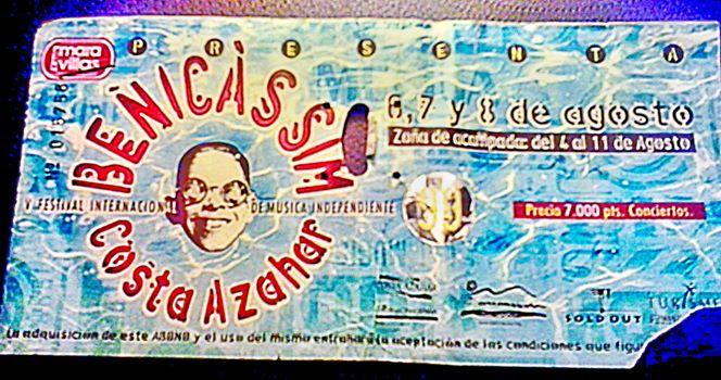 The Jon Spencer Blues Explosion - Benicassim, Spain (8 August 1999) - Ticket