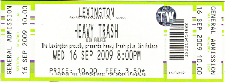 Heavy Trash - Lexington, London, UK (16 September 2009)
