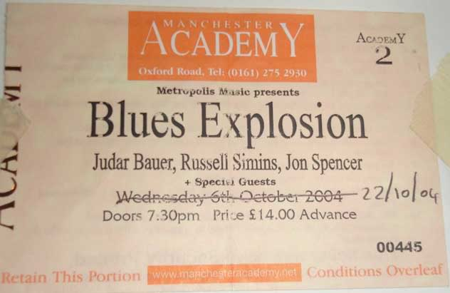 Blues Explosion - Manchester Academy 2, Manchester, UK (22 October 2004).
