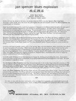 Jon Spencer Blues Explosion - Acme [Press Release] (PRESS, US)
