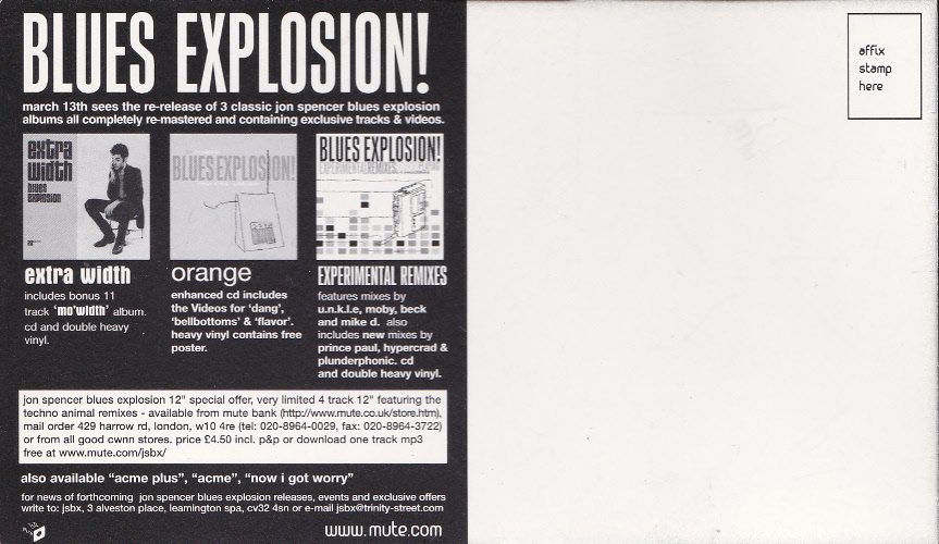 Jon Spencer Blues Explosion - Reissues (POSTCARD, UK) - Rear