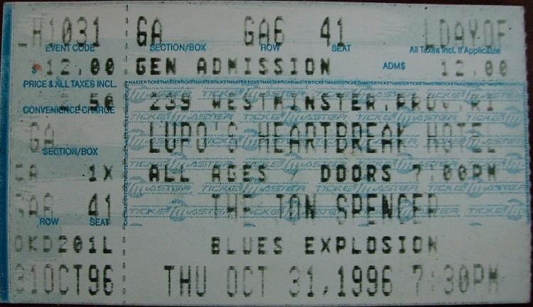 The Jon Spencer Blues Explosion - Lupo's Heartbreak Hotel, Providence, Rhode Island, US (31 October 1996)