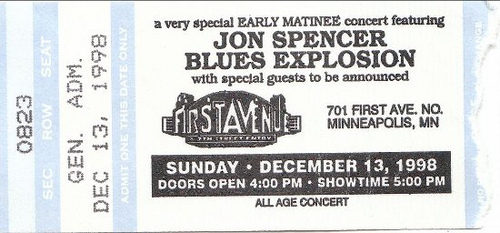 Jon Spencer Blues Exploison - First Avenue, Minneapolis, US (13 December 1998)