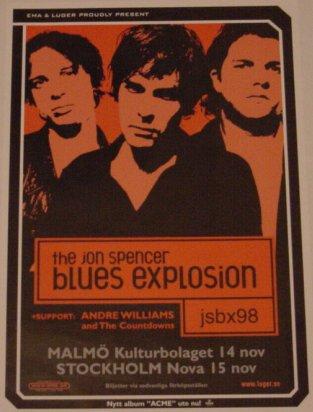 The Jon Spencer Blues Explosion - Kulturbolaget, Malmö, Sweden (14 November 1998) / Nova, Stockholm, Sweden (15 November 1998)