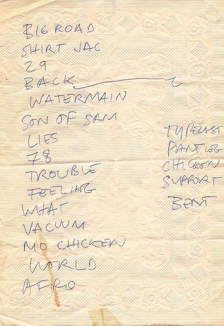 The Jon Spencer Blues Explosion - Maxwell's, Hoboken, NJ, US (28 November 1992) - Set List