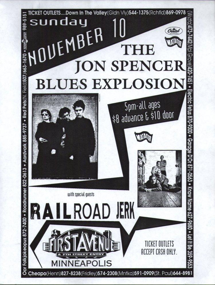 The Jon Spencer Blues Exploison - First Avenue, Minneapolis, MN, US (10 November 1996) - Poster