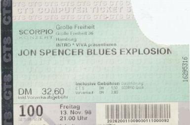 The Jon Spencer Blues Explosion - Große Freiheit, Hamburg, Germany (13 November 1998)