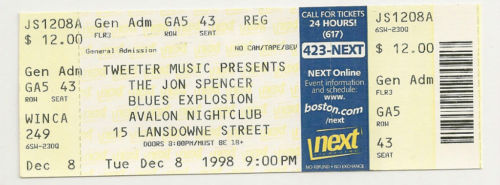 The Jon Spencer Blues Exploison -  Avalon Nightclub,  Boston, US ( 8 December 1998)
