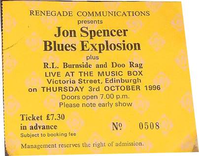 The Jon Spencer Blues Explosion – The Music Box, Edinburgh, UK (3 October 1996)