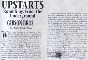 Gibson Bros. – Pulse: Upstarts – Rumblings From the Underground: Gibson Bros. – Blue Light Special Blues [300 Words] (PRESS, US)
