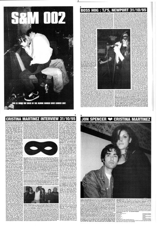 Boss Hog / Cristina Martinez - TJ's, Newport / Cristina Martinez Interview 31/10/95 / Boss Hog [Album Review] [5000 Words] (PRESS, UK)