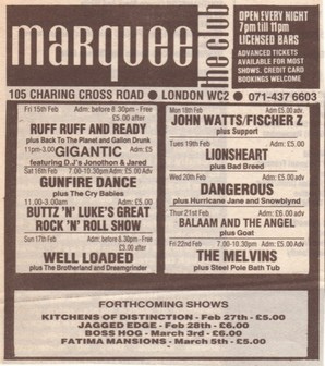 Boss Hog - The Marquee, London, UK (3 March 1991)