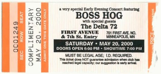 Boss Hog - First Avenue, Minneapolis, MN, US (20 May 2000)