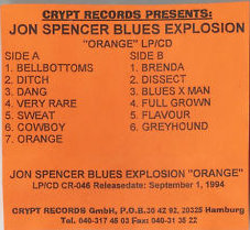 The Jon Spencer Blues Explosion - Orange [Promo] (CASSETTE, GERMANY)