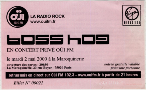 Boss Hog  show at La Maroquinerie, 23 Rue Boyer, 75020 Paris, France on 2 May 2000