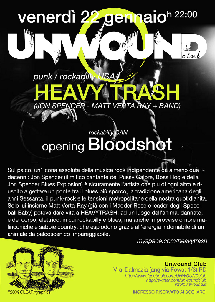 Heavy Trash - Unwound, Padova, Italy (22 January 2010)