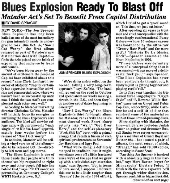 Billboard: Blues Explosion Ready To Blast Off: Matador Act's Set To Benefit... (PRESS, US)