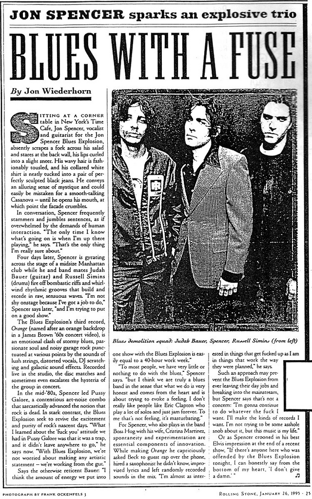 Jon Spencer Blues Explosion - Rolling Stone: Blues With a Fuse (PRESS, US)