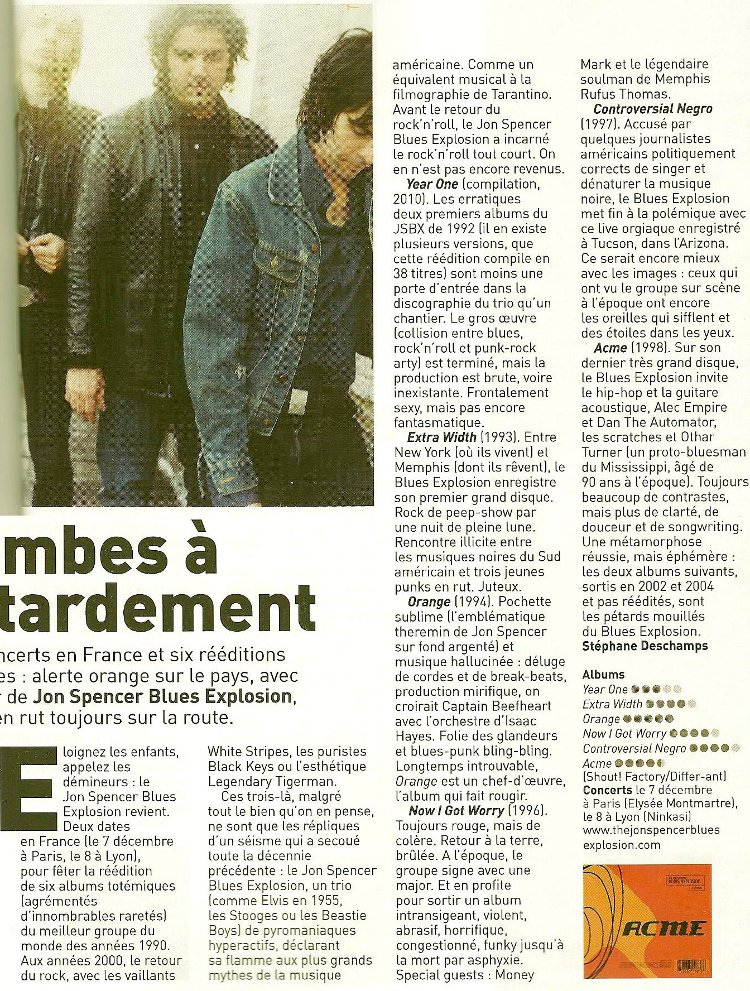 The Jon Spencer Blues Explosion - Les Inrockuptibles: Reissues [Review] (PRESS, FRANCE)