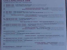 V/A feat. Tiny Masters of Today - Lollopolooza 2008: Chrysalis Music Sampler (CD, US) - Rear