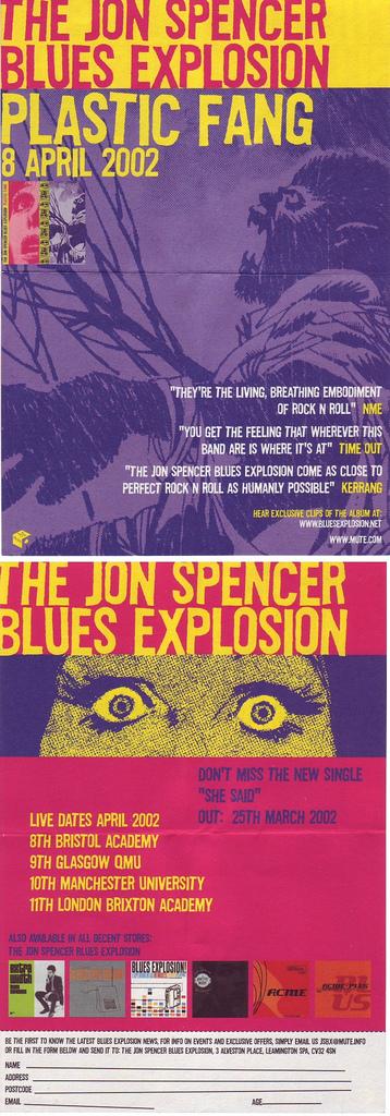 Jon Spencer Blues Explosion - Plastic Fang [#2] (FLYER, UK)