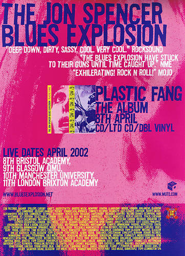 The Jon Spencer Blues Explosion - Plastic Fang / Tour (POSTER, UK)