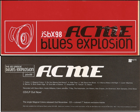 Jon Spencer Blues Explosion - Acme (STICKER, UK)