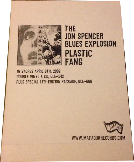 The Jon Spencer Blues Explosion - Plastic Fang [#2] (STICKER, UK) - Rear