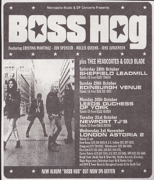 Boss Hog - UK Tour (28 October 1995 - 1 November 1995)