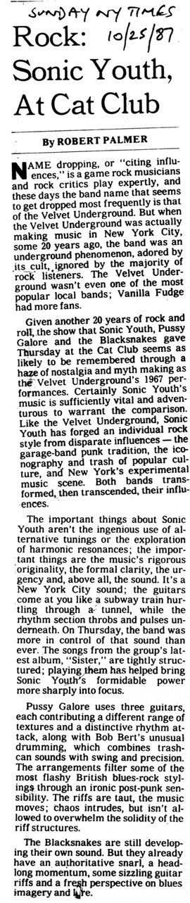 Pussy Galore - Sunday New York Times: Rock: Sonic Youth at Cat Club (PRESS, US)